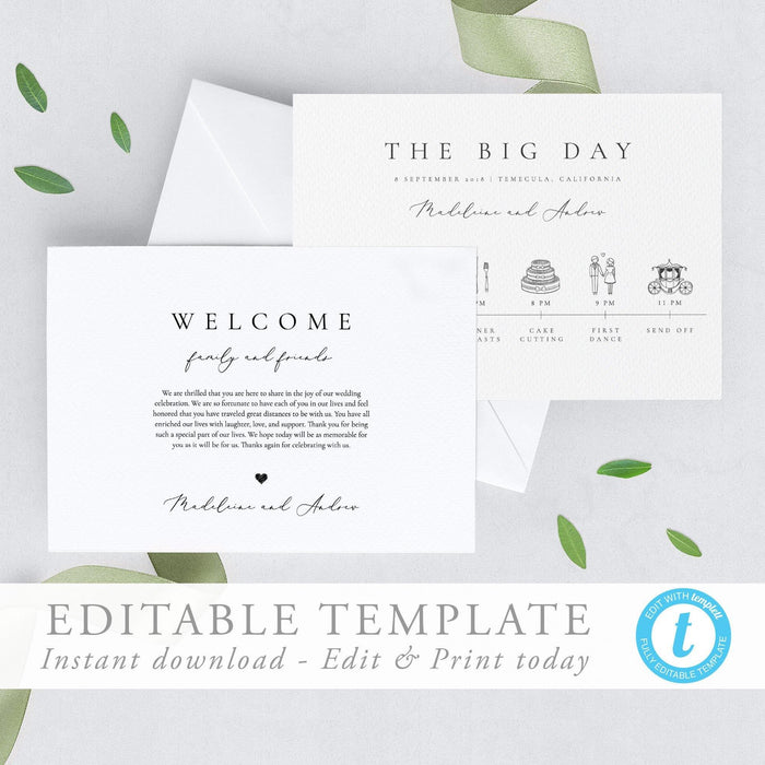 Simple Elegant Wedding Timeline - Pearly Paper