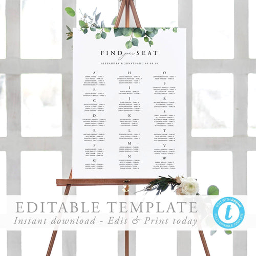 Alphabetical Seating Chart Sign Eucalyptus - Pearly Paper