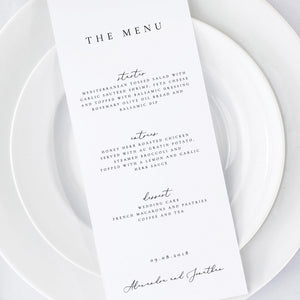 Printable Wedding Menu Simple - Pearly Paper