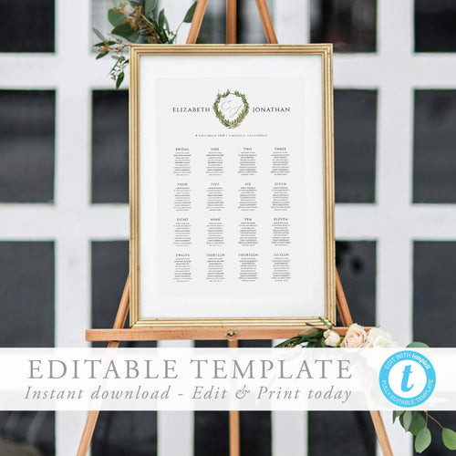 Seating Chart Sign Monogram - Pearly Paper