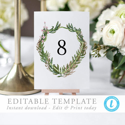 Table Cards Greenery Wreath - Pearly Paper