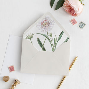 White Floral Envelope Liner - Pearly Paper