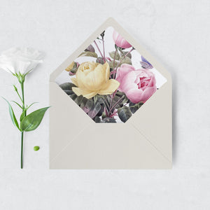 Floral Envelope Liner with roses - Pearly Paper