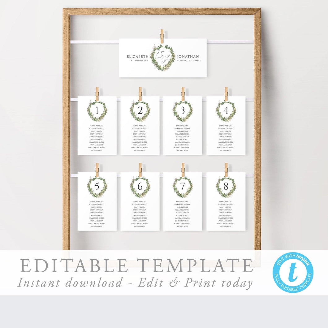 Simple Wedding Seating Cards - Pearly Paper