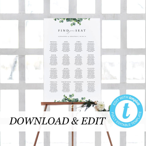 Wedding Seating Chart Sign Eucalyptus - Pearly Paper