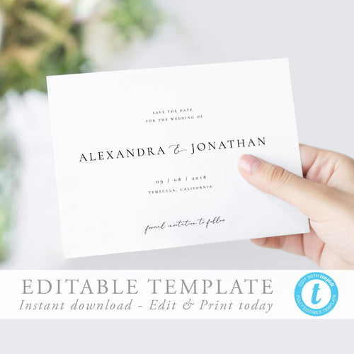 Simple Save the Date Invite - Pearly Paper