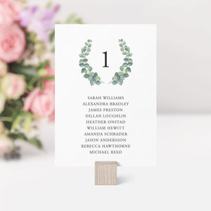 Wedding Seating Chart Cards Eucalyptus - Pearly Paper
