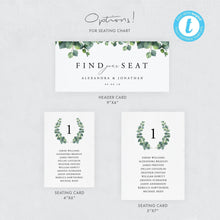 Load image into Gallery viewer, Wedding Seating Chart Cards Eucalyptus - Pearly Paper