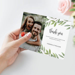 Greenery Wedding Thank You Card - Pearly Paper