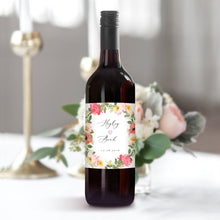Load image into Gallery viewer, Floral Wedding Wine Bottle Label - Pearly Paper