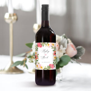 Floral Wedding Wine Bottle Label - Pearly Paper