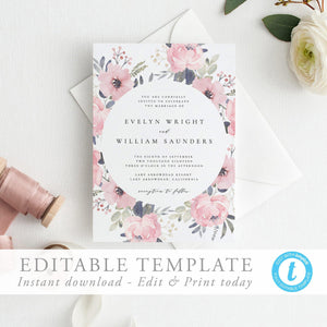 Blush Wedding Invitation Boho wedding - Pearly Paper
