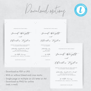 Editable Wedding Invitation Template Greenery - Pearly Paper