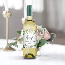 Load image into Gallery viewer, Greenery Wedding Wine Bottle Label - Pearly Paper