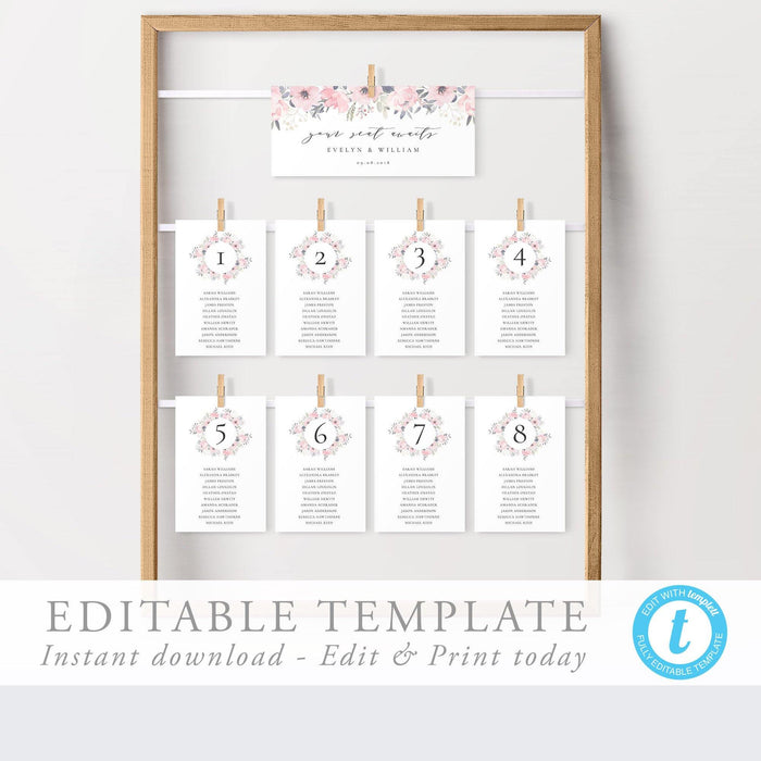 Boho Seating Chart Cards - Pearly Paper