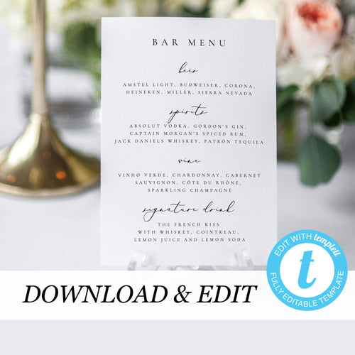 Wedding Bar Menu - Pearly Paper