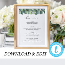 Load image into Gallery viewer, Greenery Wedding Bar Menu - Pearly Paper