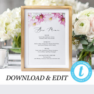 Floral Wedding Bar Menu - Pearly Paper