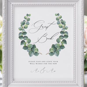 Eucalyptus Wedding Guest book Sign - Pearly Paper
