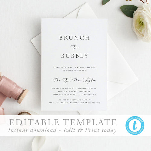 Brunch & Bubbly Wedding Brunch Invitation - Pearly Paper