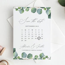 Load image into Gallery viewer, Greenery Calendar Save the Date Eucalyptus - Pearly Paper