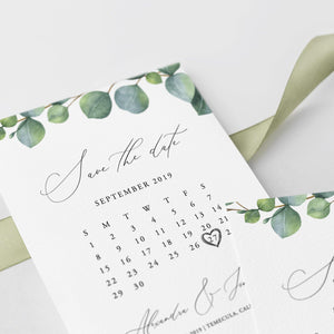 Greenery Calendar Save the Date Eucalyptus - Pearly Paper