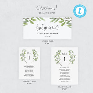 Wedding Seating Chart Cards Greenery - Pearly Paper