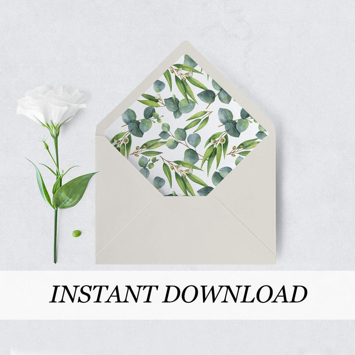 Eucalyptus Greenery Envelope Liner - Pearly Paper
