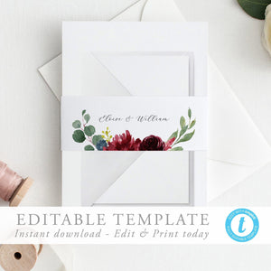 Belly Band Template Wedding Belly - Pearly Paper