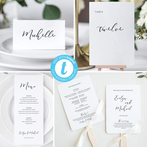 Editable Wedding Bundle Template, Ceremony - Pearly Paper
