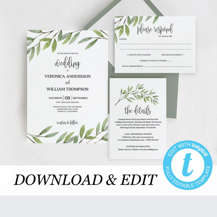 Greenery wedding invitation template Boho - Pearly Paper