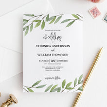 Load image into Gallery viewer, Wedding invitation template Greenery Wedding - Pearly Paper