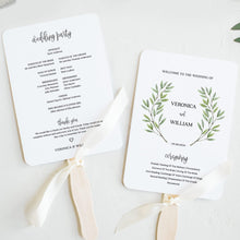 Load image into Gallery viewer, Wedding program Fan Greenery - Pearly Paper