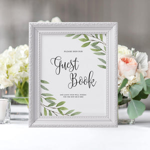 Greenery Wedding Guest book Sign - Pearly Paper