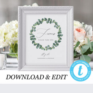Eucalyptus Wedding Favors Sign Template - Pearly Paper