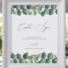Load image into Gallery viewer, Custom Wedding Sign Template Eucalyptus - Pearly Paper