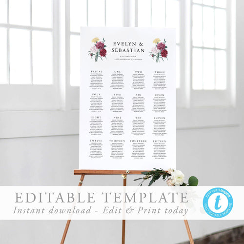 Seating Chart Floral Sign - Pearly Paper