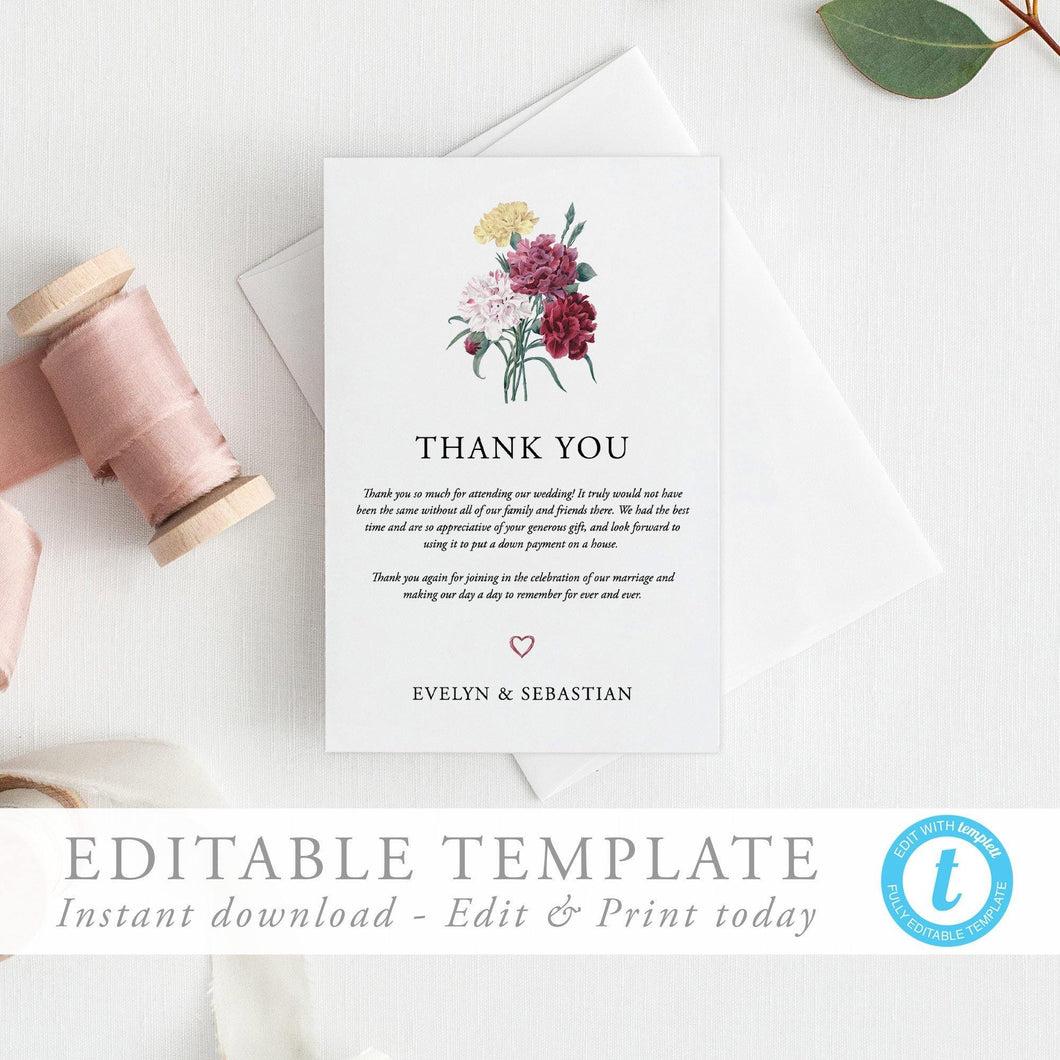 Floral Wedding Thank You Card - Pearly Paper