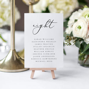 Simple Wedding Table Number Seating Cards - Pearly Paper