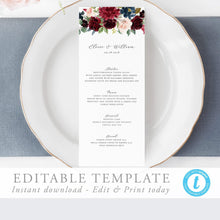 Load image into Gallery viewer, Floral Wedding Menu - Pearly Paper