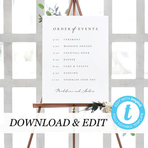 Editable Order of Events Template - Pearly Paper