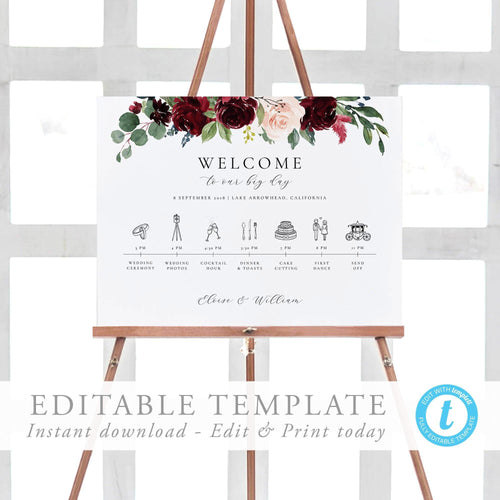Wedding timeline poster Order of - Pearly Paper