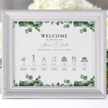 Load image into Gallery viewer, Greenery Wedding timeline poster Order - Pearly Paper
