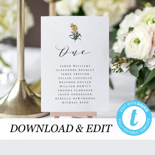 Wedding Table Number Seating Cards Floral - Pearly Paper
