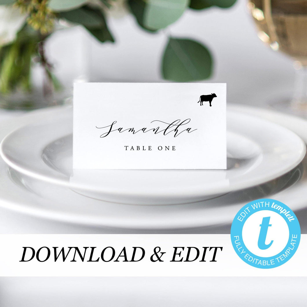 Place cards tent with meal icon - Pearly Paper