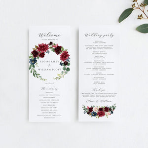 Merlot Ceremony Program - Pearly Paper