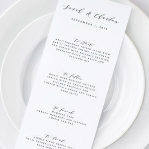 Simple Wedding Menu - Pearly Paper