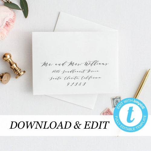 Envelope Template Calligraphy - Pearly Paper