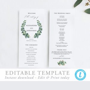 Eucalyptus Ceremony Program - Pearly Paper