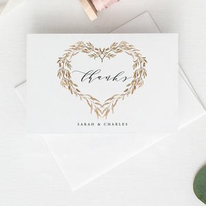 Wedding Thank you card floral heart - Pearly Paper